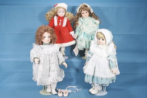 22: 4 Modern Porcelain Dolls