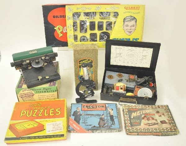 21: 8 Boxed A. C. Gilbert Toys