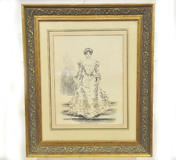 23: Early 1900's Fashion Drawing Signed Walsh