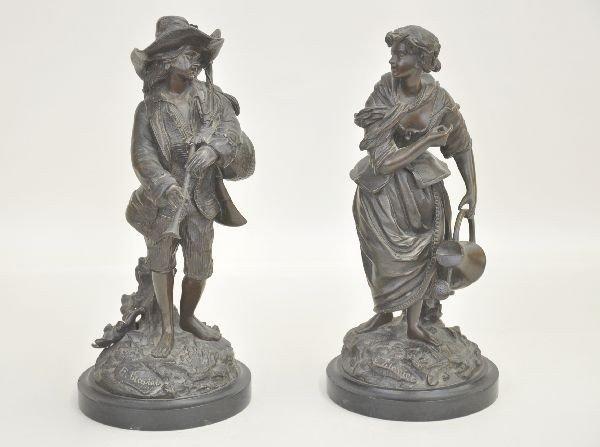171: Pair Signed E. Blavier Bronze Sculptures