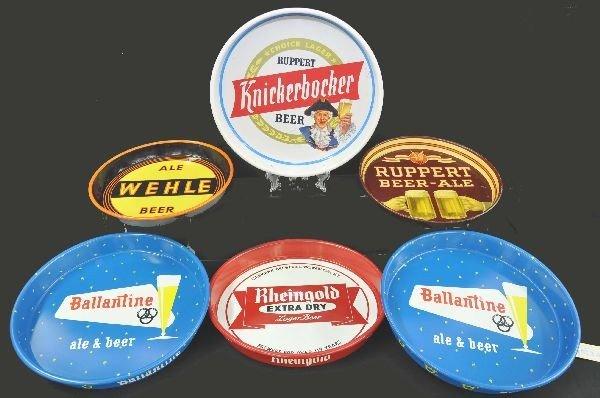 9: 6 Vintage Tin Litho Beer Trays