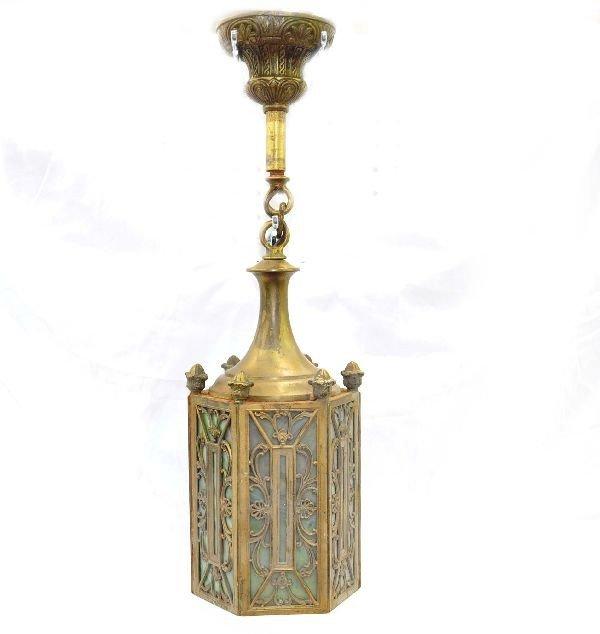 12: Early Slag Glass Light Fixture