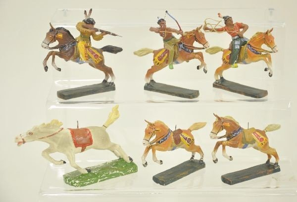 11: 9 pc Elastolin Indian and Horse Lot