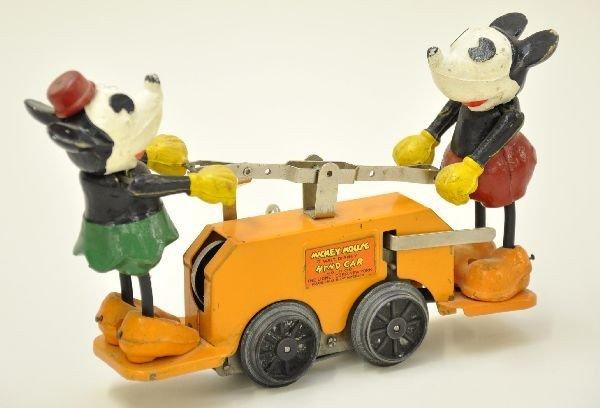 354: Scarce Lionel 1100 Orange Mickey Mouse Hand Car