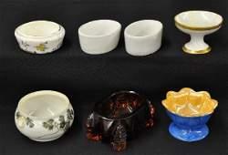 741 Antique Ceramic  Glass Salts