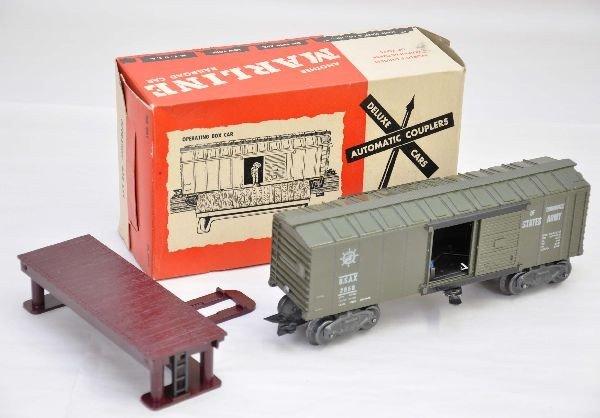 13: Unusual Boxed Marx Operating Army Boxcar