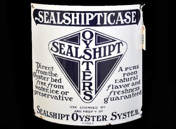 9: Sealship Oysters Porcelain Sign