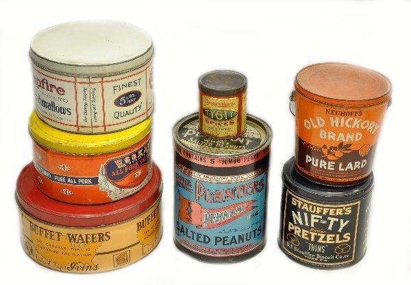 12: 7 Pc Vintage Food Tins Lot