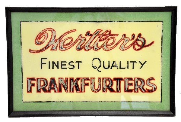 13: Glass Hertler's Frankfurters Sign