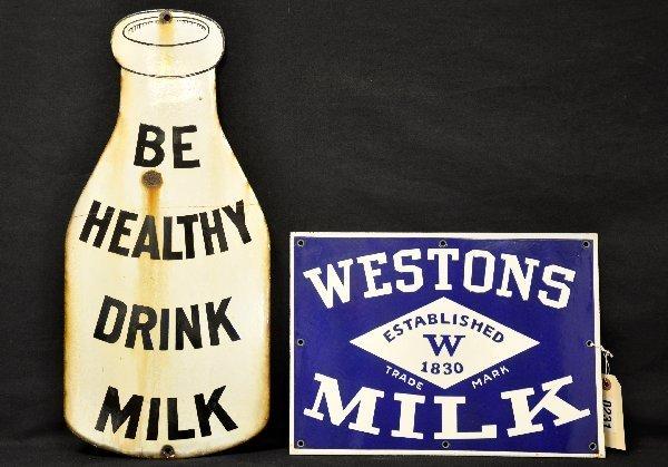 25: 2 Vintage Porcelain Milk Signs