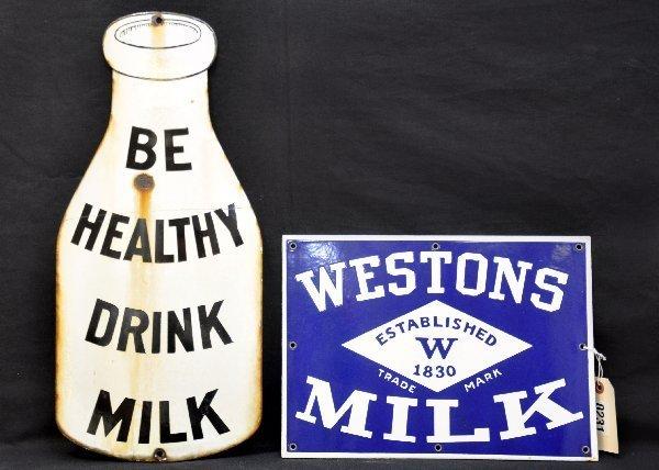 25: 2 Vintage Porcelain Milk Signs - 2
