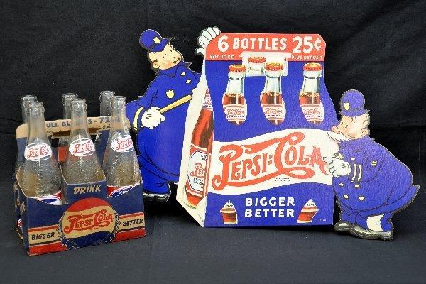 79: Pepsi-Cola Sign & Bottles Lot