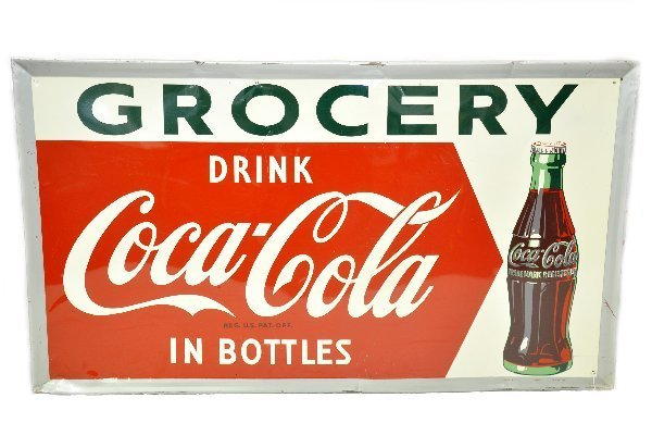 86: Large Coca-Cola Tin Grocery Sign