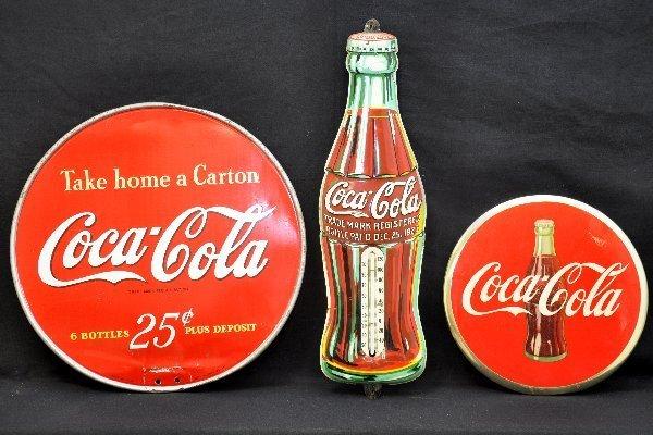 91: 3 Pc Coca-Cola Sign Lot
