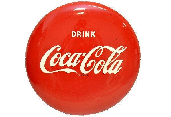 94: Unusual Tin Coca-Cola Button Sign