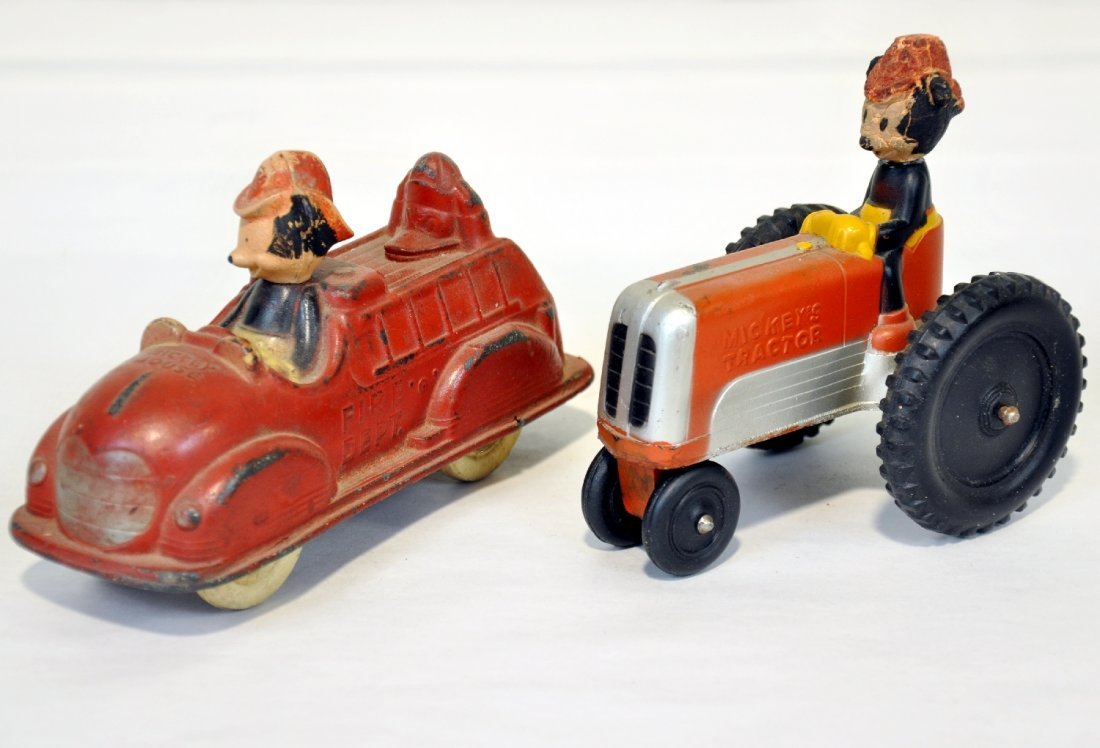 Sun Rubber Mickey Mouse Tractor & Fire Engine