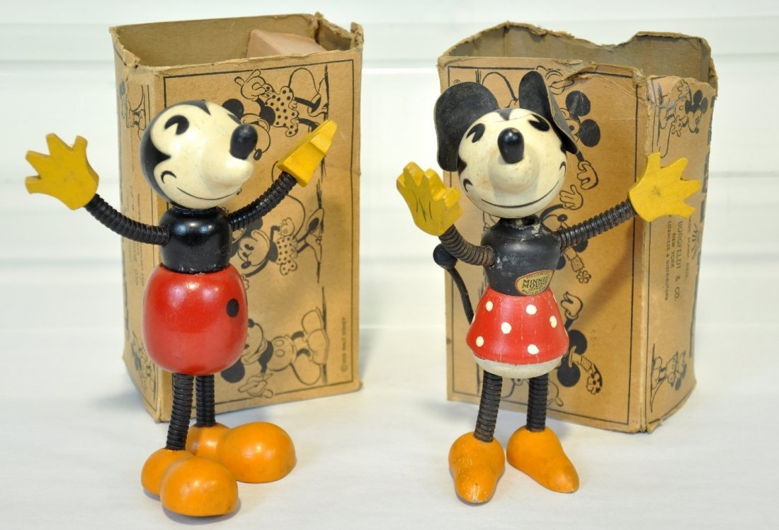 Rare Boxed Nifty Mickey & Minnie Mouse Figures