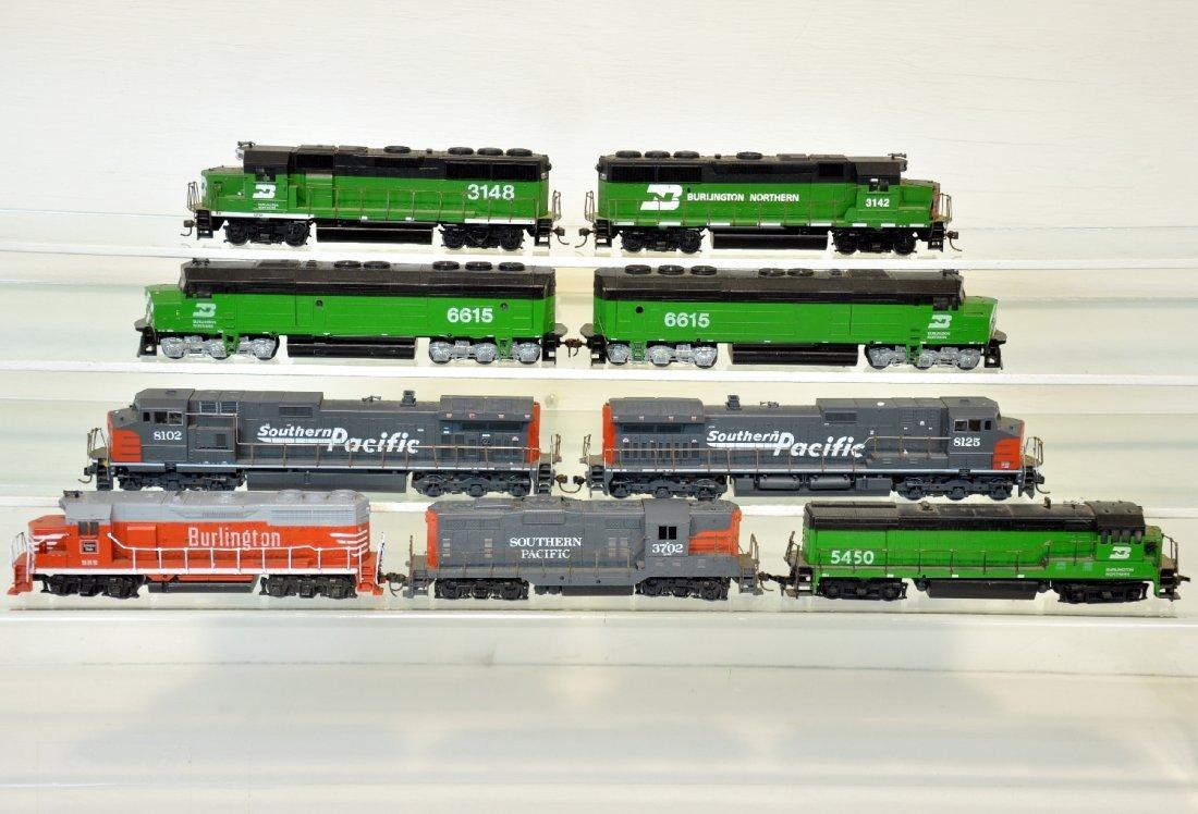 9 Athearn Burlington & SP HO Diesels