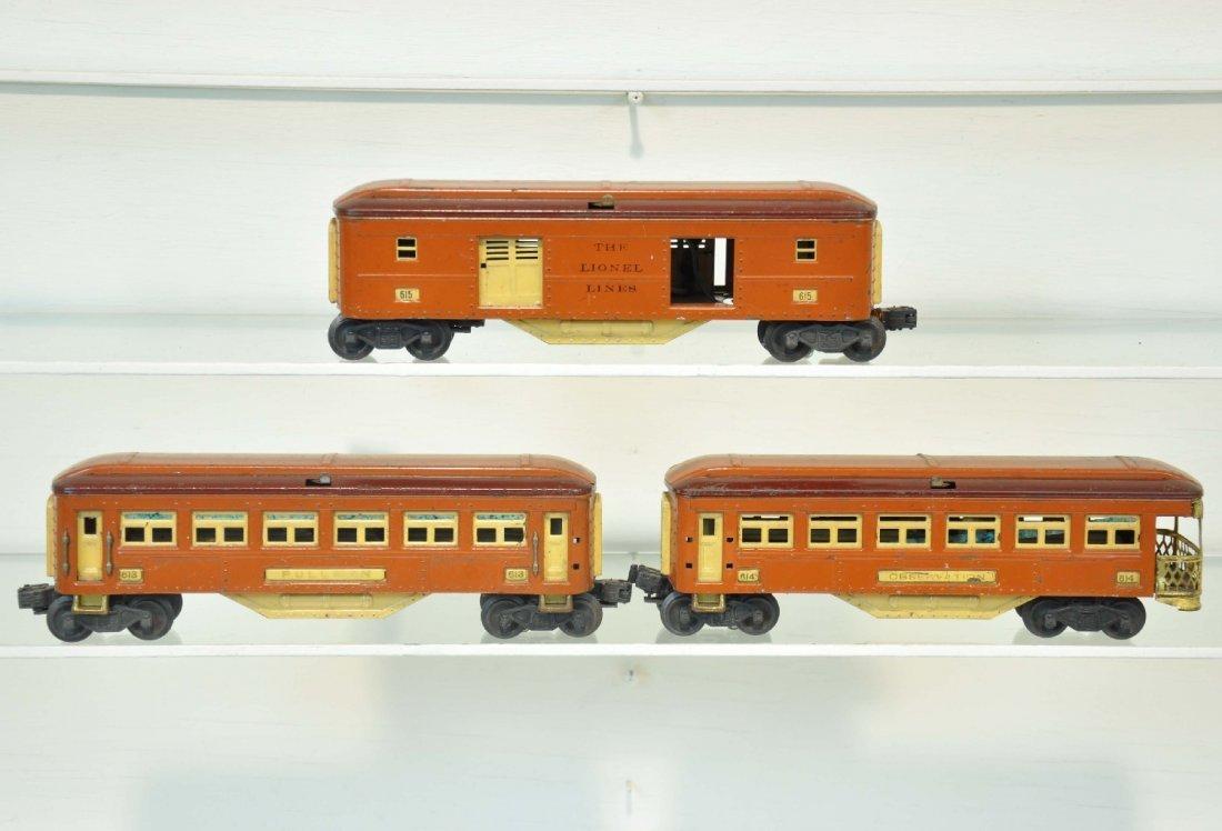 3 Lionel 614 Series Passenger Cars