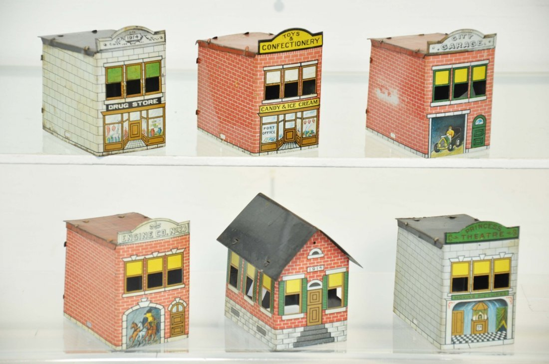 6 Tin Litho Candy Containers