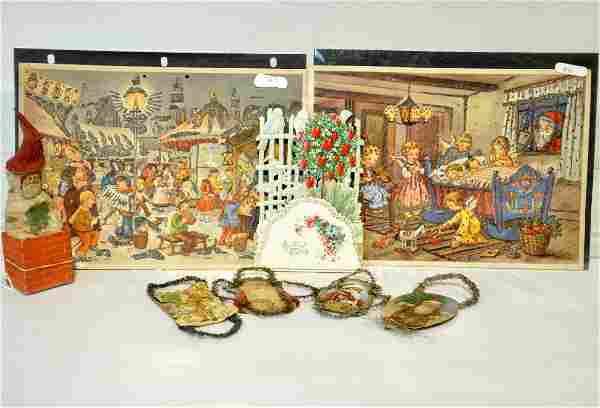 8Pc Early Christmas Ornament & Scrap Lot