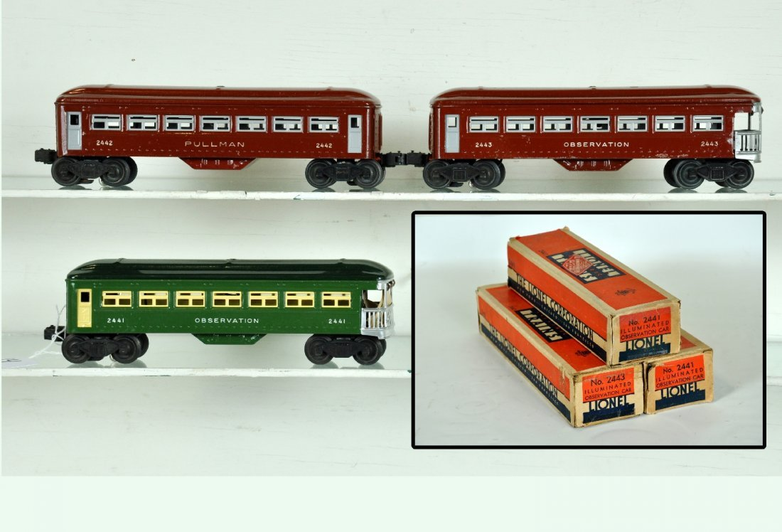 3 Boxed Early Lionel Passenger Cars