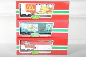 3 Lgb Advertizing Freight Cars