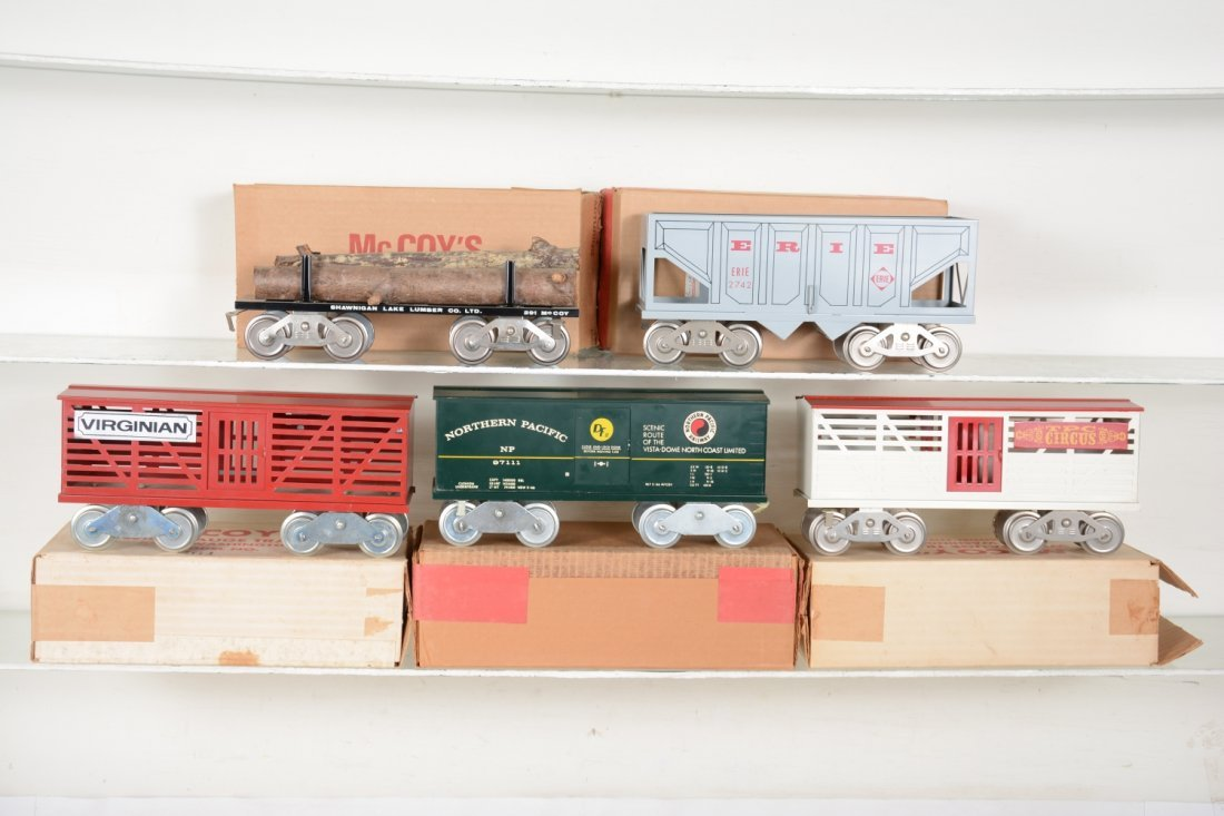 5 Boxed Mc Coy Freight Cars