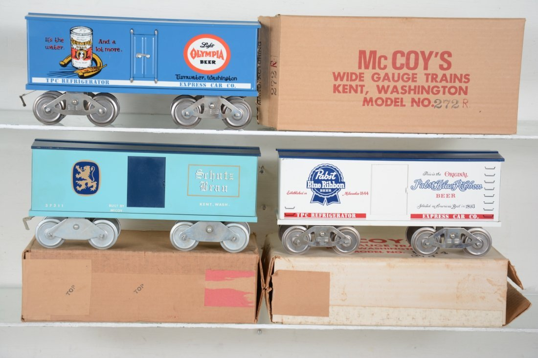 3 Boxed Mc Coy Beer Cars