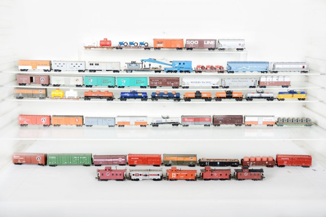 HO GA 50+ Assorted Freight Cars