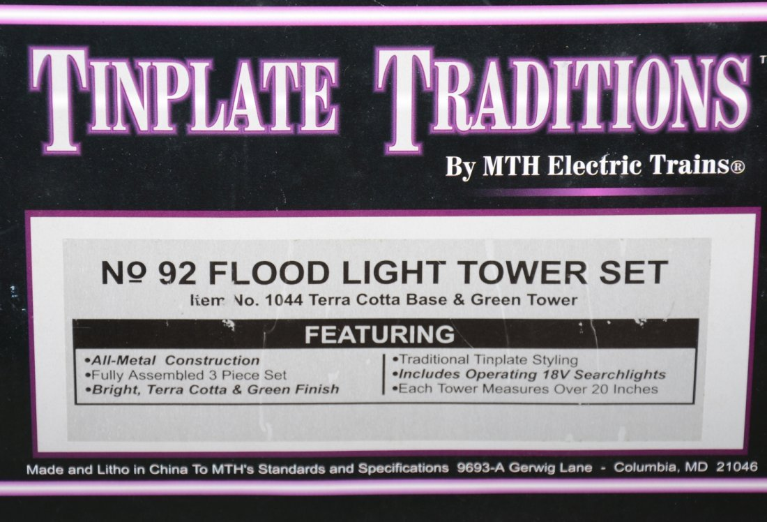 MTH 1044 3-Lionel 92 Floodlight Towers - 2