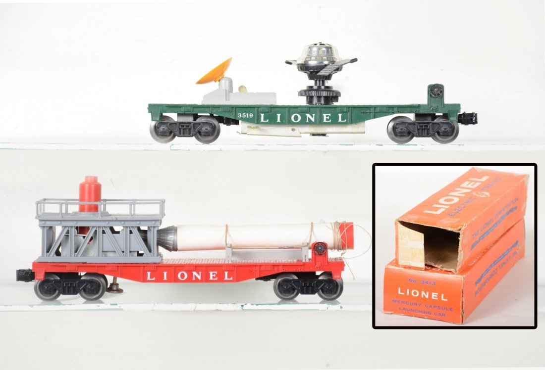 Boxed Lionel 3413 & 3519 Space Cars