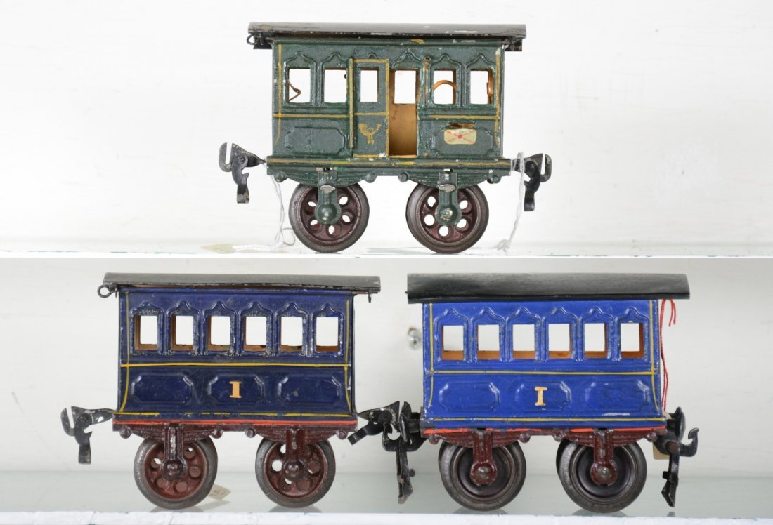 3 Very Early 11cm Marklin Hand-Painted Cars