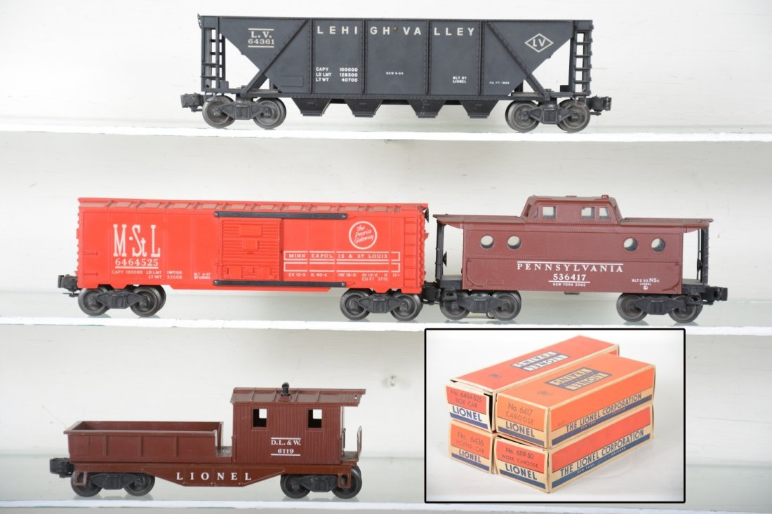 Boxed Lionel 6464-525, 6417, 6119-50 & 6436 Freights