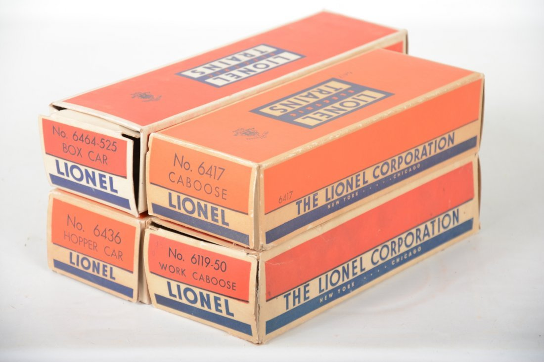 Boxed Lionel 6464-525, 6417, 6119-50 & 6436 Freights - 6
