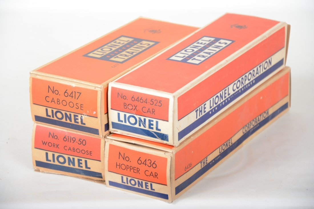 Boxed Lionel 6464-525, 6417, 6119-50 & 6436 Freights - 7