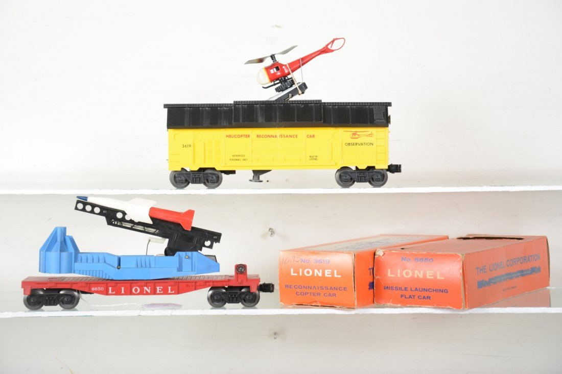 Boxed Lionel 3619 & 6650 Space Cars