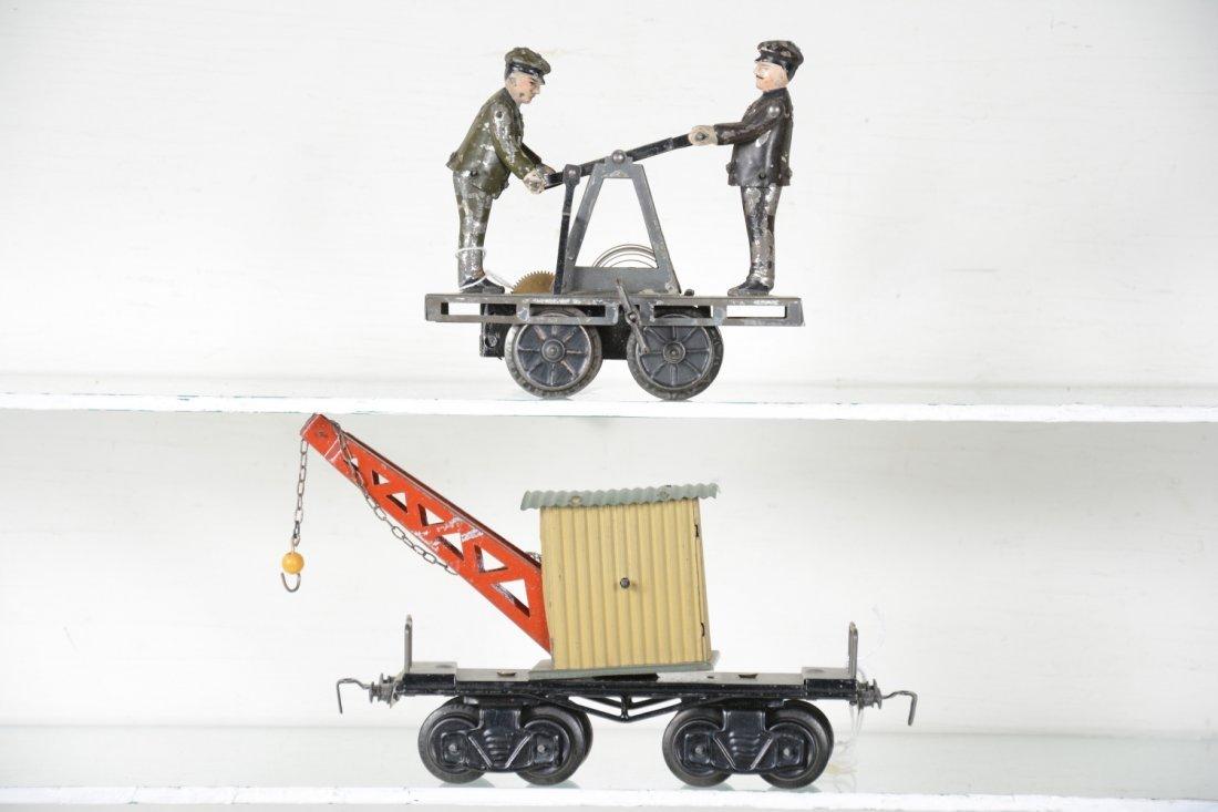 Bing O Gauge Handcar & Crane