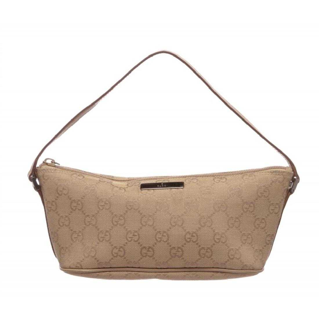 ccb88d1be03c Gucci Brown Beige Canvas Leather Monogram Pochette Bag