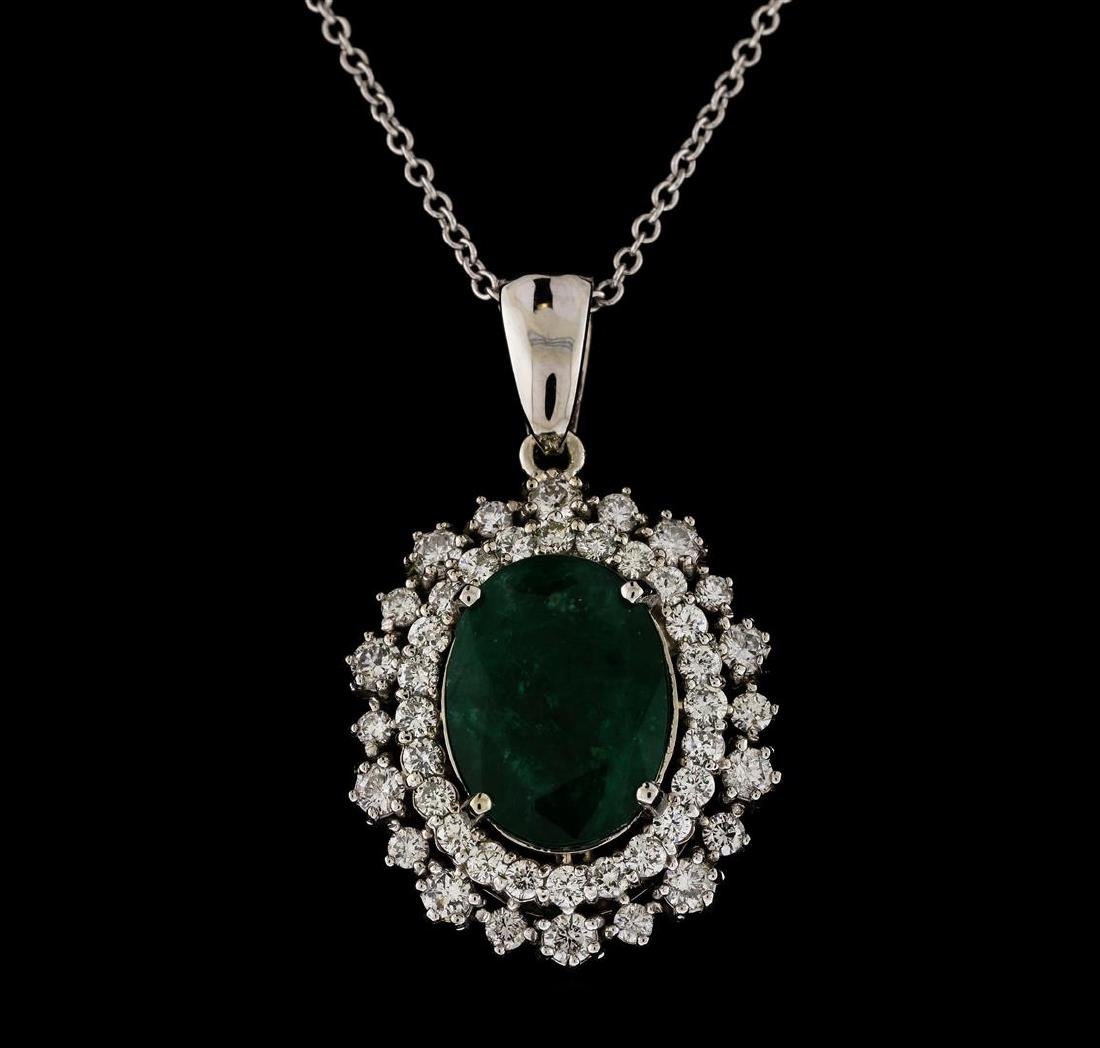 5.14 ctw Emerald and Diamond Pendant With Chain - 14KT - 2