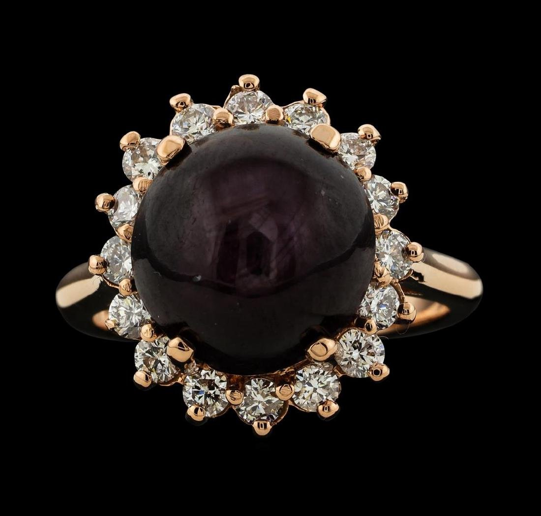 11.96 ctw Star Ruby and Diamond Ring - 14KT Rose Gold - 2