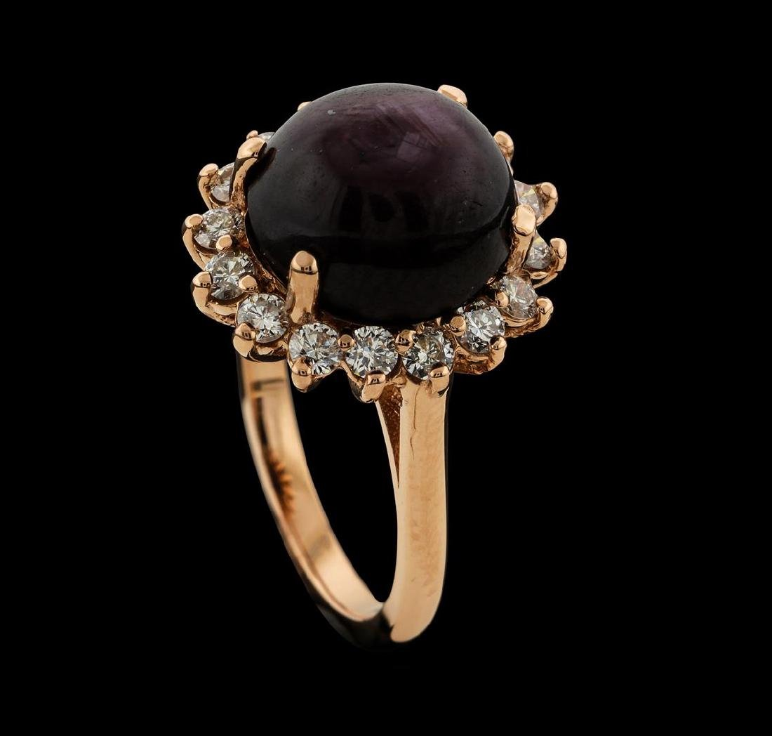 11.96 ctw Star Ruby and Diamond Ring - 14KT Rose Gold - 4