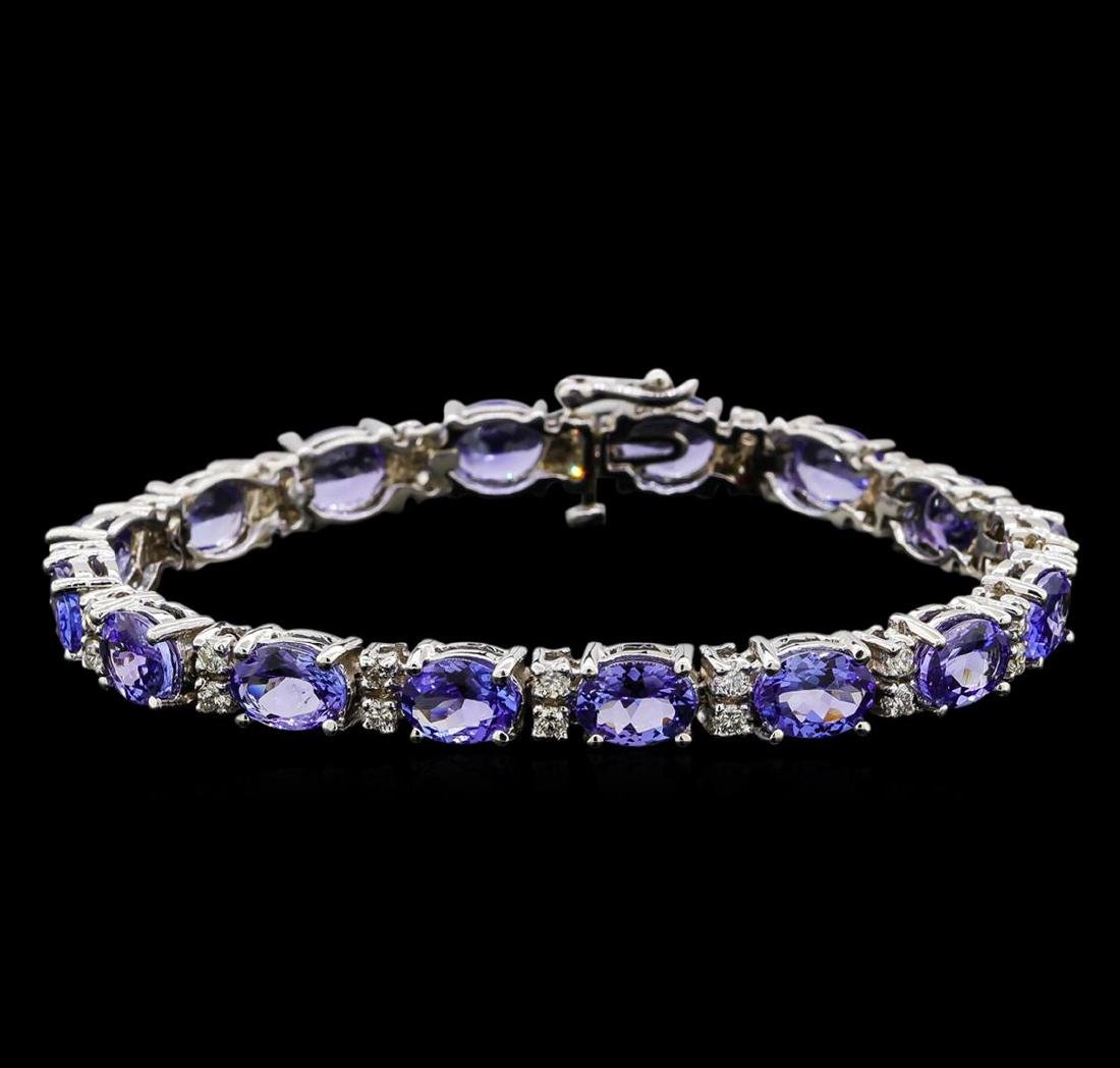 14KT White Gold 17.76 ctw Tanzanite and Diamond