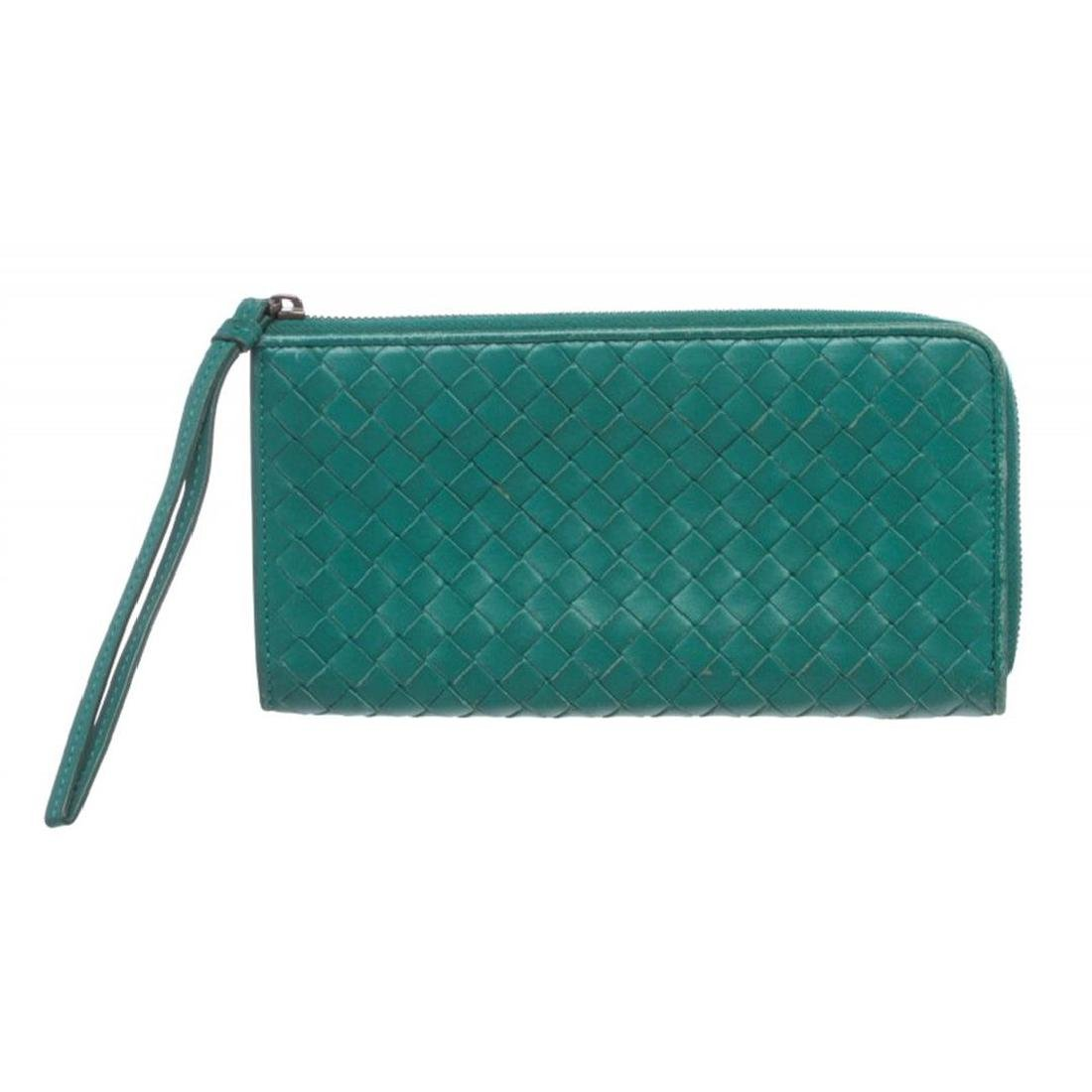 Bottega Veneta Green Woven Leather Zip Long Wallet