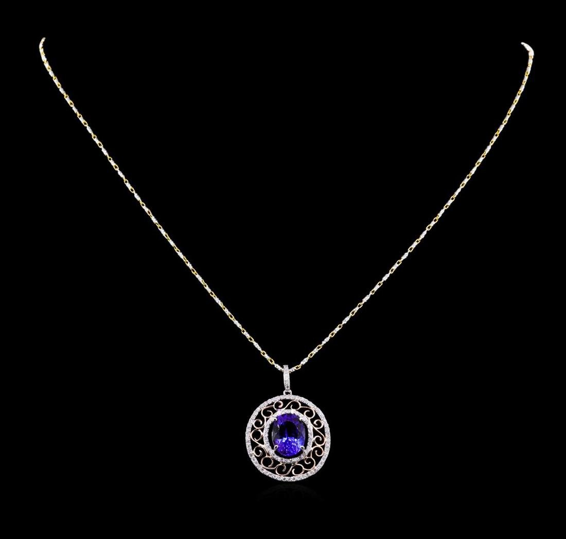 14KT Two-Tone Gold 4.32 ctw Tanzanite and Diamond
