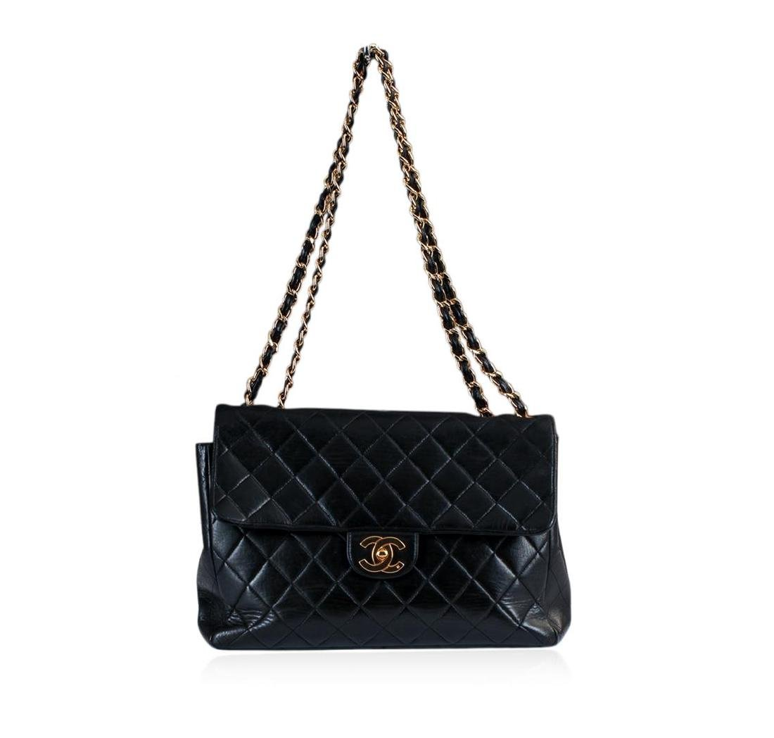 Chanel Vintage Jumbo Flap Black Shoulder Bag