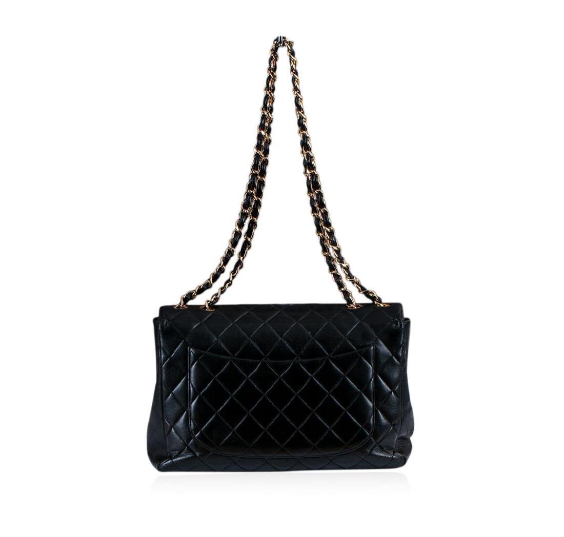 Chanel Vintage Jumbo Flap Black Shoulder Bag - 3