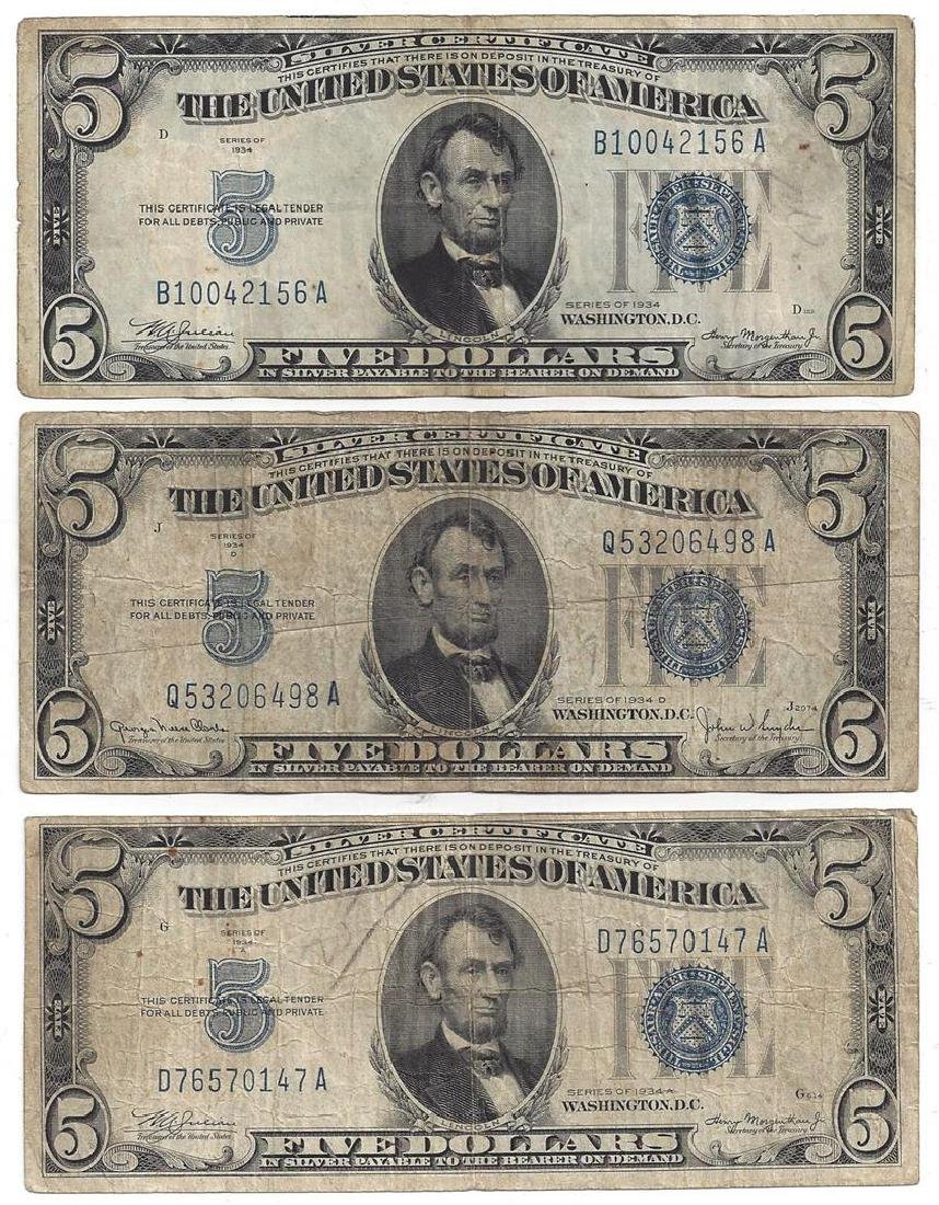 1934 $5 Bill Currency Lot of 6