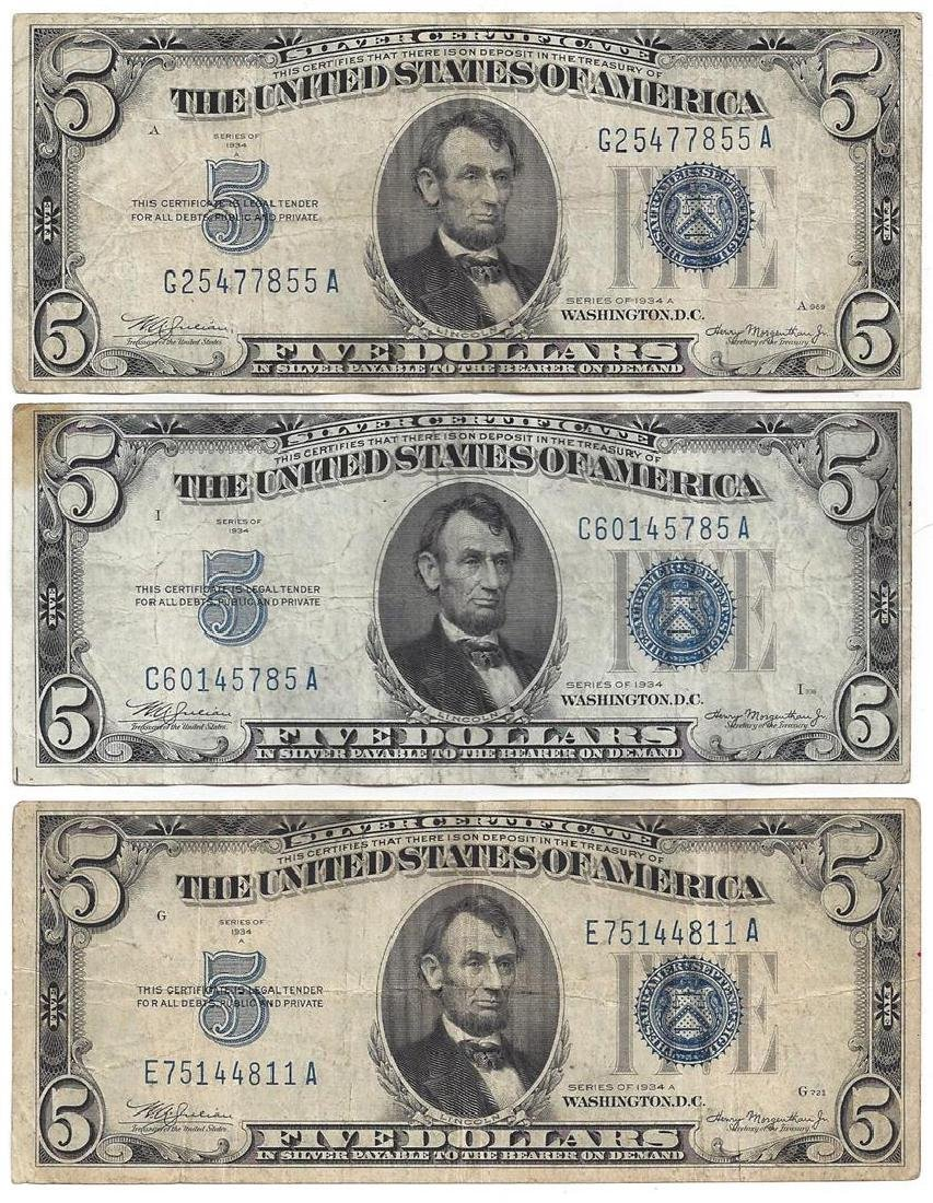 1934 $5 Bill Currency Lot of 6 - 3