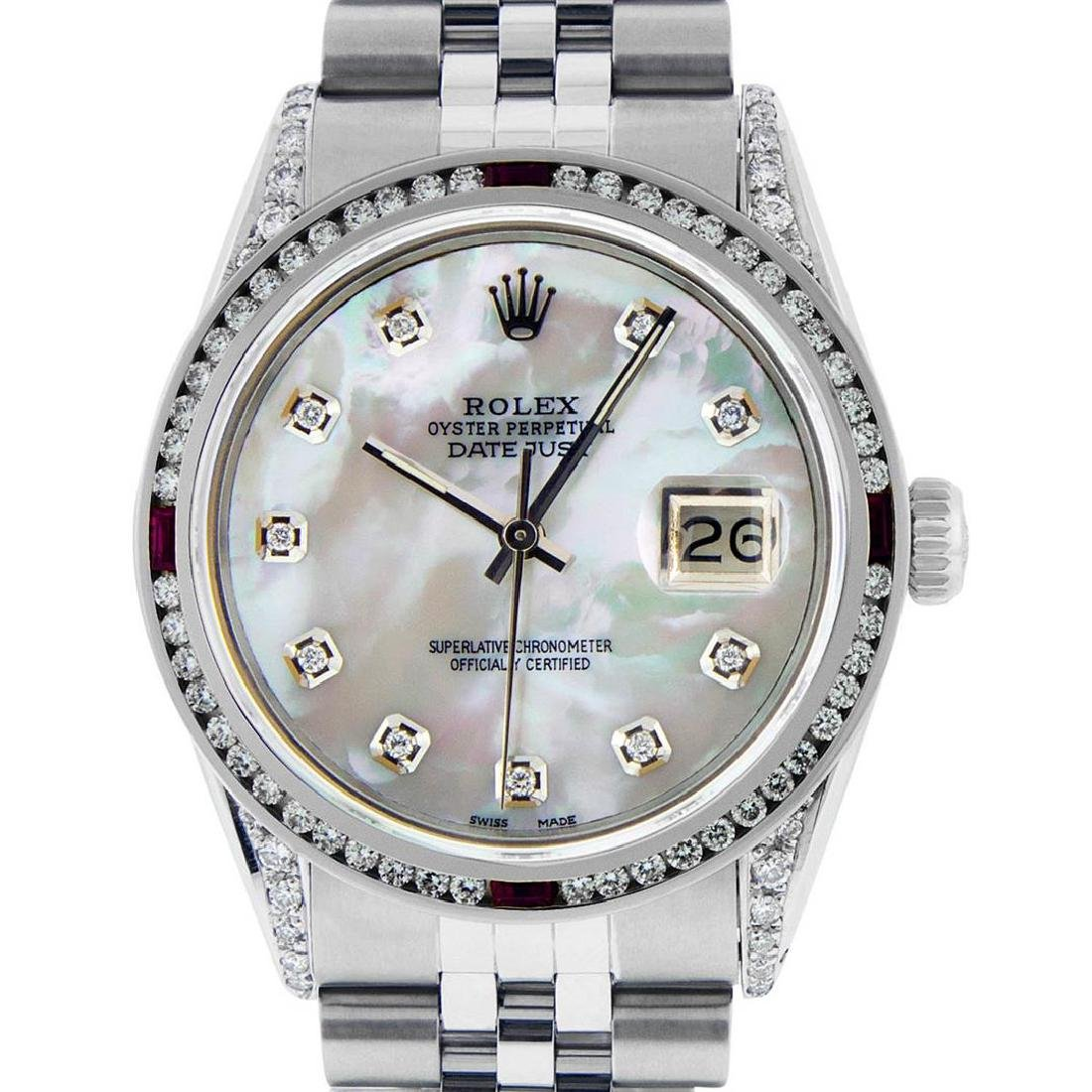 Rolex Mens Stainless Steel Diamond Lugs & Ruby Channel